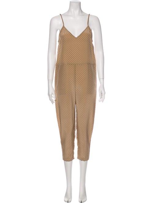 Michelle Mason Polka Dot Print V-Neck Jumpsuit