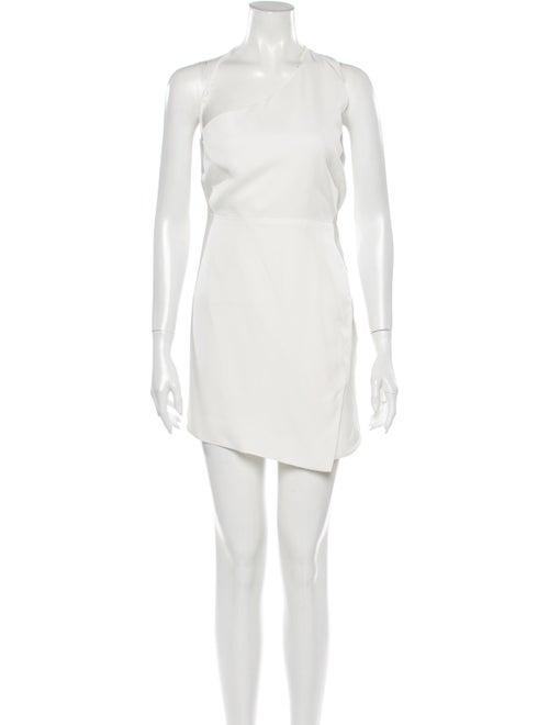 Michelle Mason One-Shoulder Mini Dress White