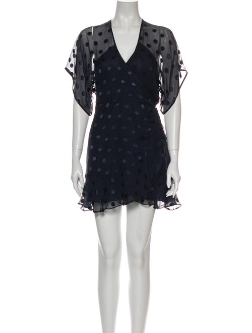 Michelle Mason Polka Dot Print Mini Dress Blue