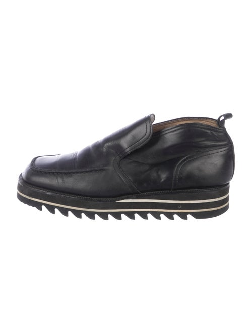 Matsuda Leather Square-Toe Loafers black