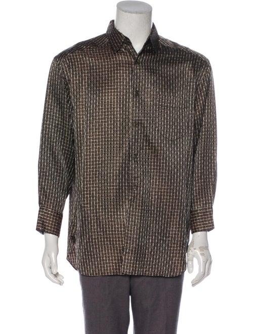 Matsuda Patterned Dress Shirt black