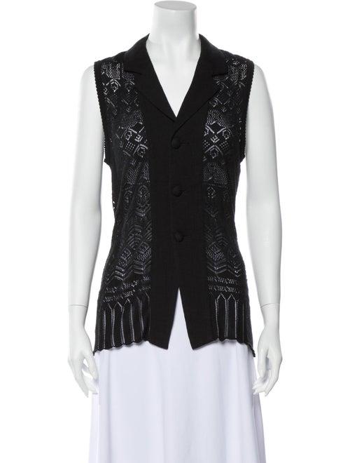 Matsuda Lace Pattern V-Neck Top Black