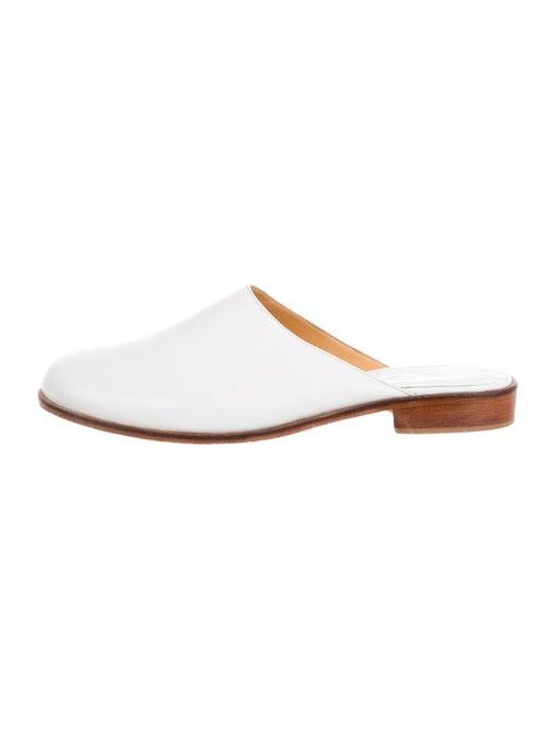 Martiniano Leather Round-Toe Mules White