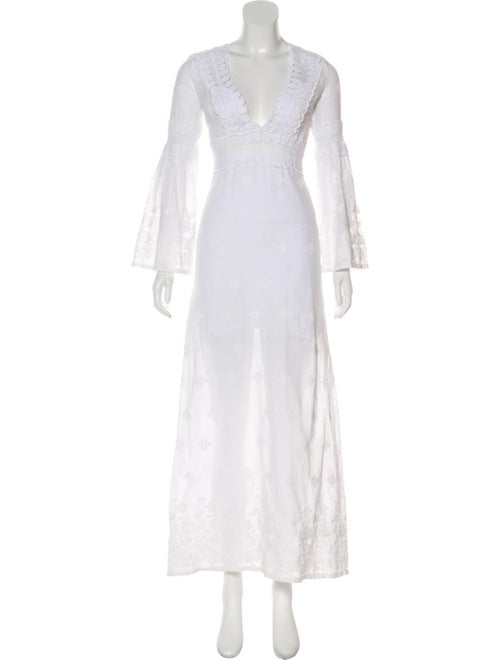 Miguelina Embroidered Maxi Dress White