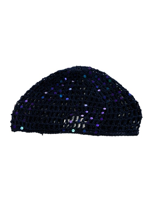 Miguelina Sequins Knit Beanie Navy