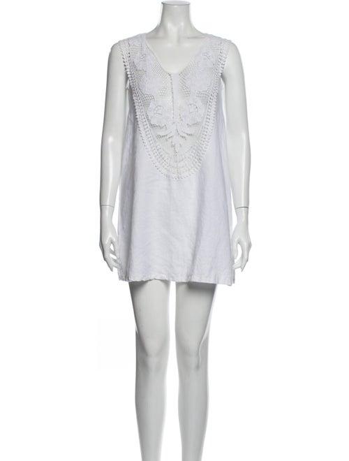 Miguelina Linen Mini Dress White - image 1
