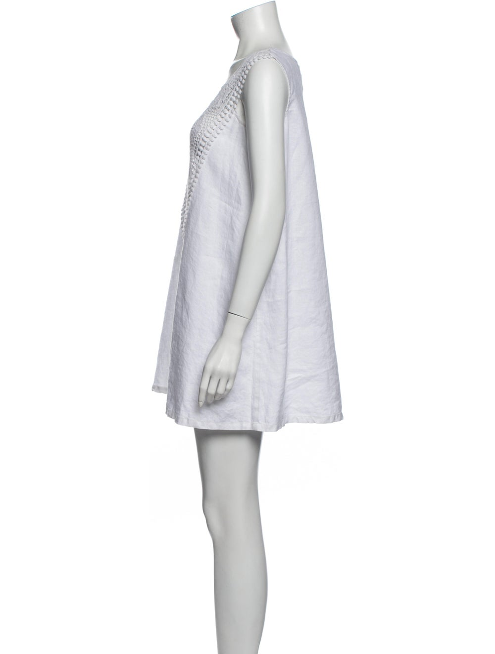Miguelina Linen Mini Dress White - image 2