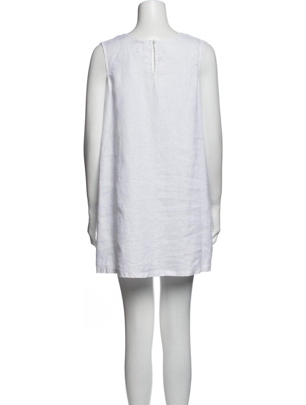 Miguelina Linen Mini Dress White - image 3