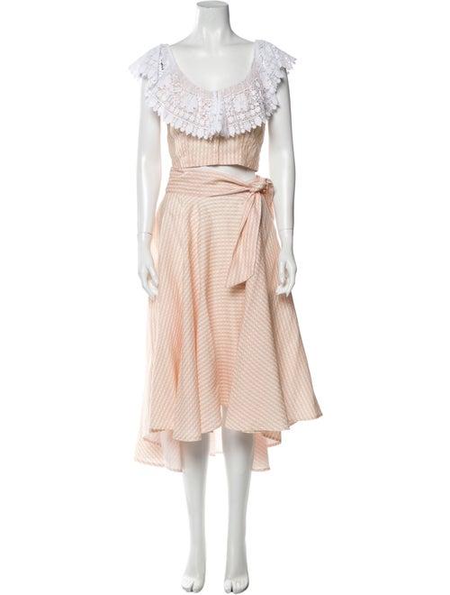 Miguelina Linen Plaid Print Skirt Set Orange