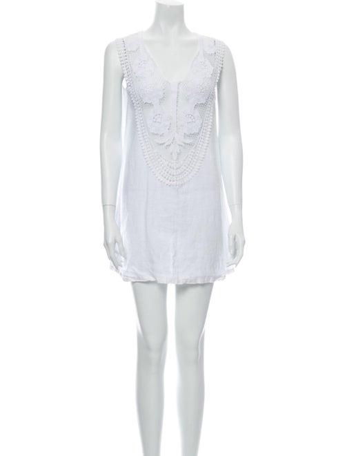 Miguelina Linen Mini Dress White