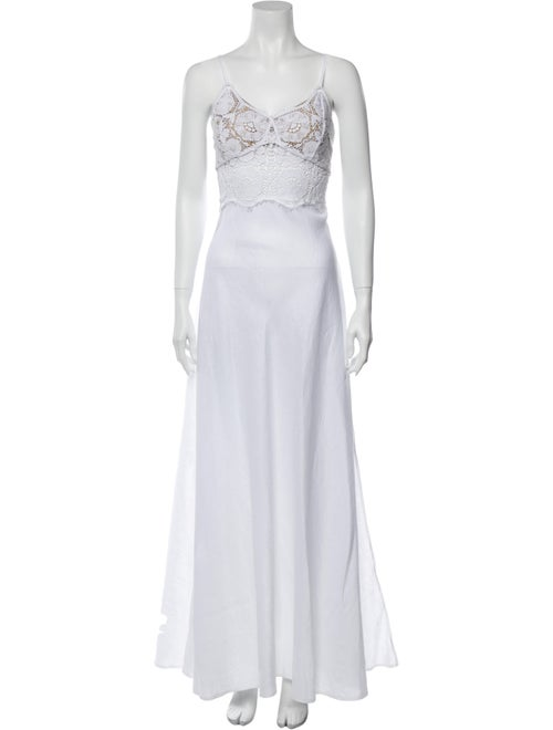 Miguelina Linen Long Dress White