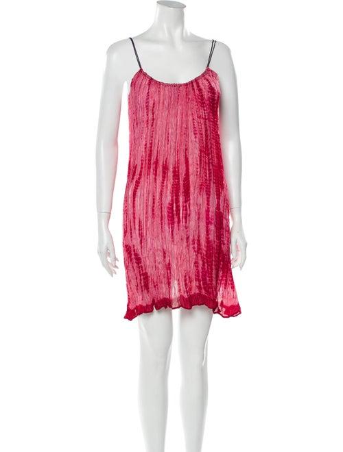 Miguelina Tie-Dye Print Mini Dress Pink