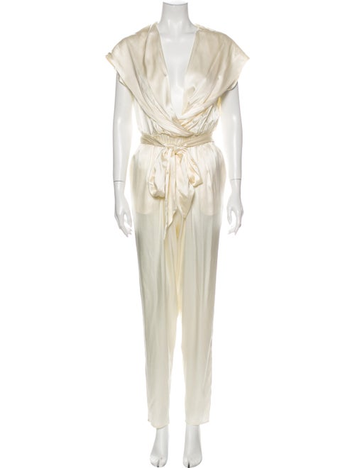 Miguelina Silk Plunge Neckline Jumpsuit w/ Tags Wh