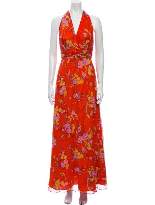 Miguelina Silk Long Dress Orange