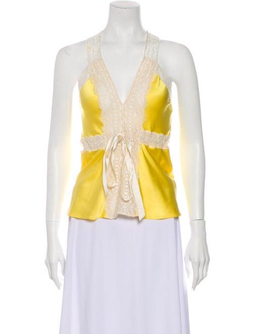 Miguelina Silk Printed Top Yellow