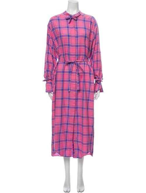 Munthe Plaid Print Midi Length Dress Pink