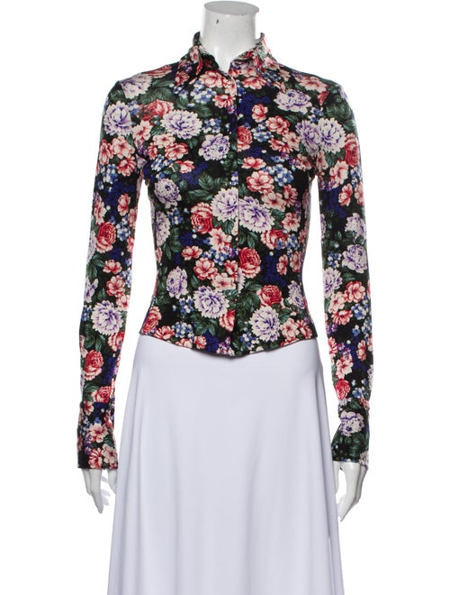 Marshmallow Floral Print Long Sleeve Button-Up Top