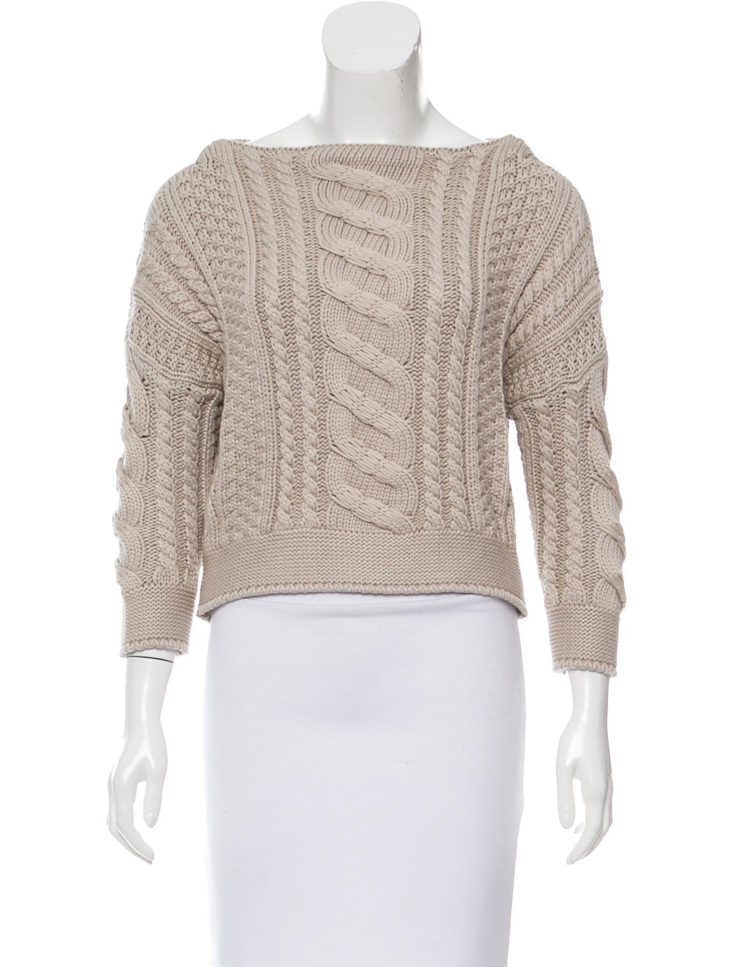 MaxMara Weekend Cropped Cable Knit Sweater - Clothing - WMX20163 ...