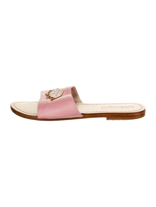Mystique Leather Graphic Print Slides Pink