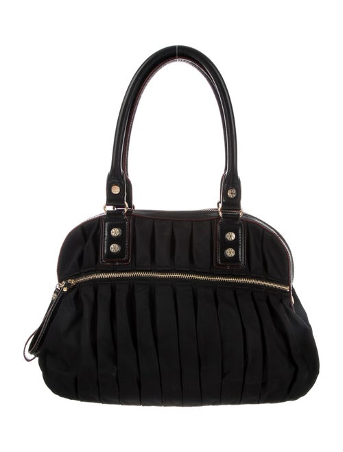 MZ Wallace Leather-Trimmed Ruched Shoulder Bag Bla