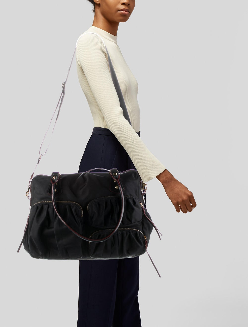 MZ Wallace Leather-Trimmed Nylon Shoulder Bag Bla… - image 2