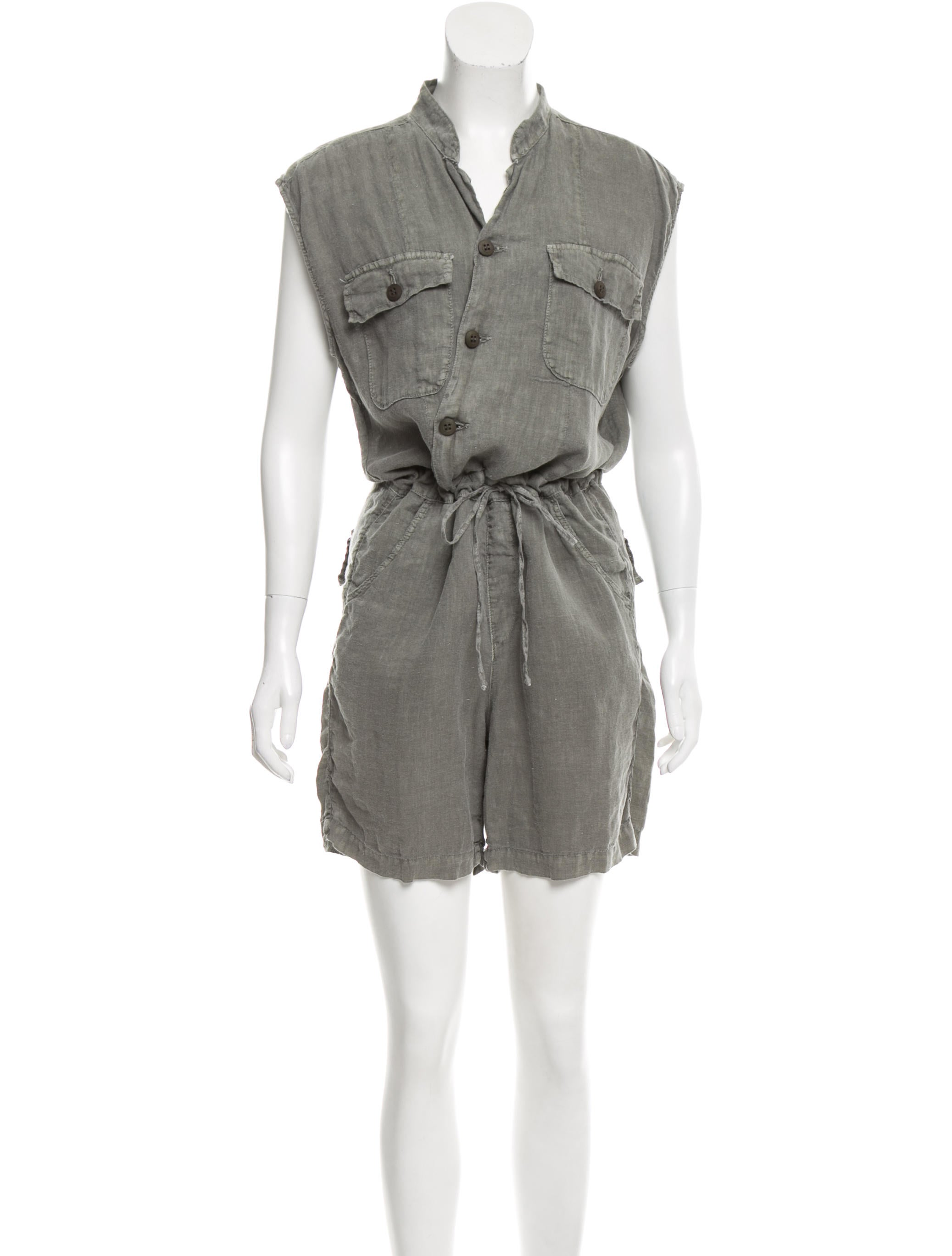 Nsf linen button up romper clothing wn020367 the for Linen button up shirt womens