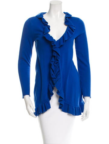 Magaschoni Ruffled-Accented Knit Cardigan None