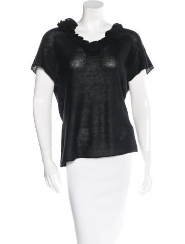 Magaschoni Ruffle-Trimmed Knit Top None