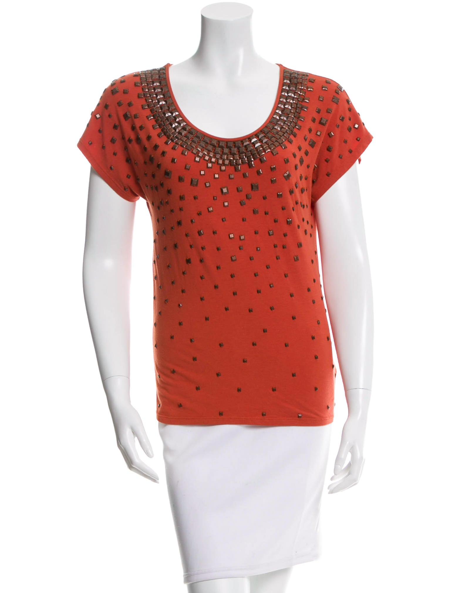 Magaschoni strudded scoop neck t shirt clothing for Scoop neck t shirt