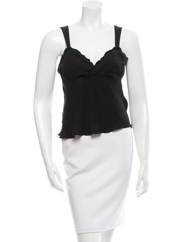 Magaschoni Silk Ruffle-Trimmed Top None
