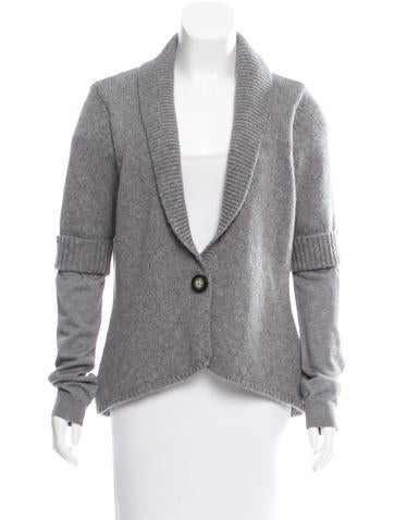 Magaschoni Wool Rib Knit Cardigan None