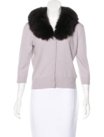Magaschoni Cashmere & Fox Fur Cardigan w/ Tags None