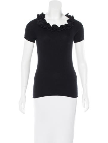 Magaschoni Ruffle-Accented Cashmere Top None