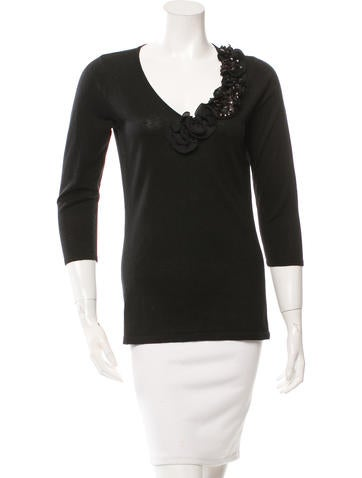 Magaschoni Embellished Silk & Cashmere sweater None