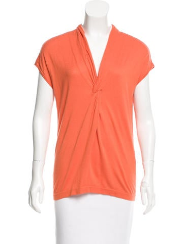 Magaschoni Knot-Accented Silk Top w/ Tags None