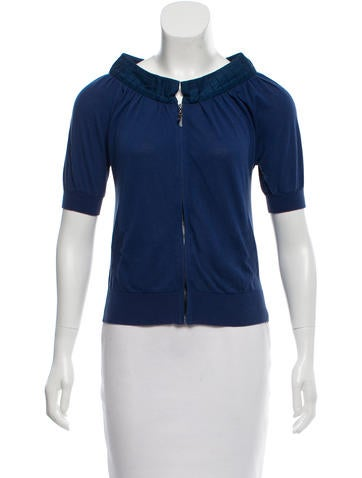 Magaschoni Pleated Zip-up Cardigan None