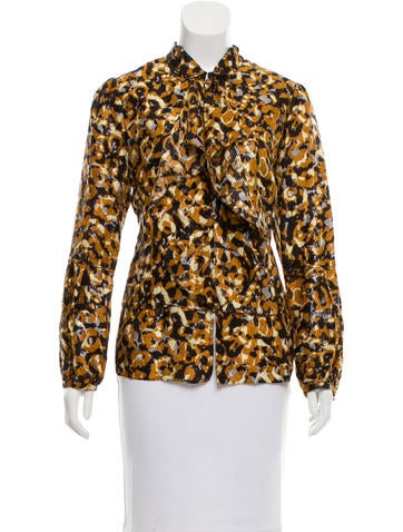 Magaschoni Patterned Silk Top None
