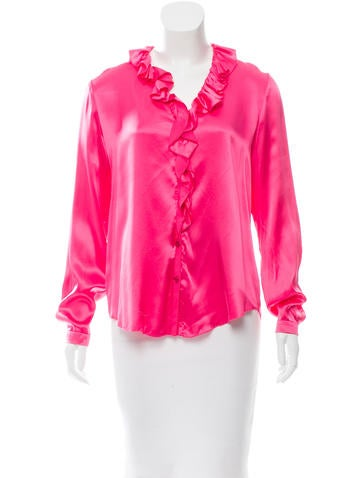 Magaschoni Ruffle-Trimmed Silk Top None