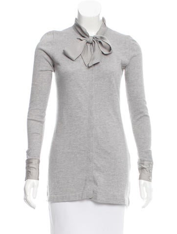 Magaschoni Knit Button-Up Top None