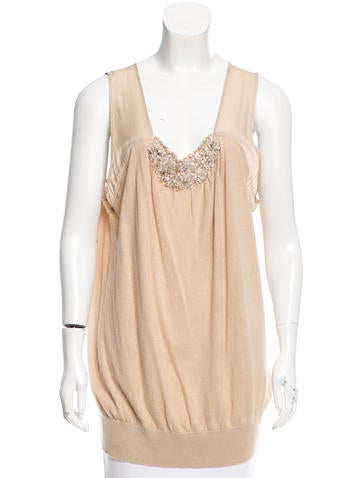 Magaschoni Sleeveless Bead-Embellished Top w/ Tags None