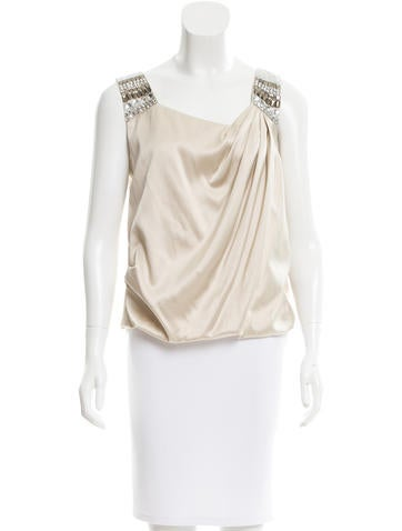Magaschoni Bead-Accented Silk Top None