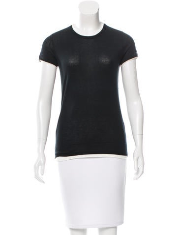 Magaschoni Short Sleeve Rib Knit-Trimmed Top None