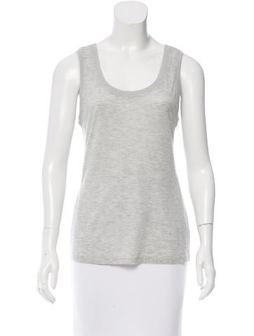 Magaschoni Sleeveless Rib Knit-Trimmed Top None