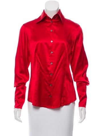 Magaschoni Silk Button-Up Top None