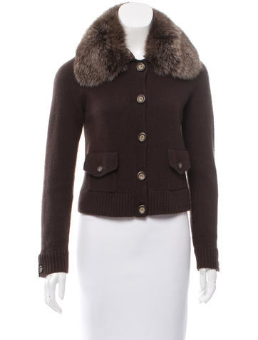 Magaschoni Fox-Trimmed Cashmere Cardigan None