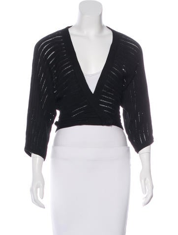 Magaschoni Rib-Knit Cropped Cardigan None