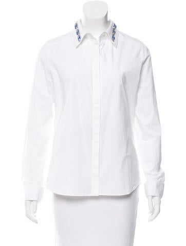 Magaschoni Embellished Button-Up Top None