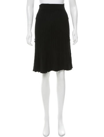 Magaschoni Pleated Wool Skirt None