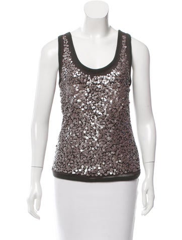 Magaschoni Sequined Knit Top None