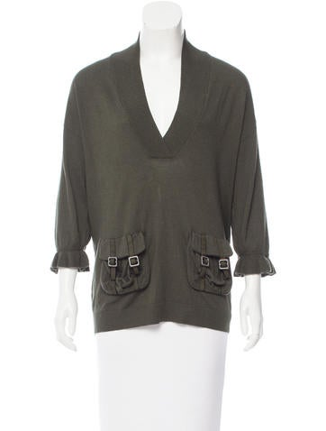 Magaschoni V-Neck Knit Sweater None